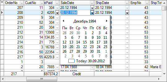 DropDown Callendar for TDataTime fields.